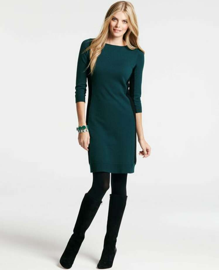 Colorblock sweater dress, $98, Ann Taylor.