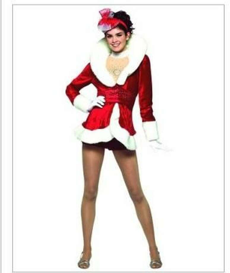 This costume is also marketed for tweens. She looks like she forgot to put her pants on.