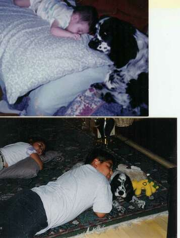 Joshua Diaz is the sleeping baby boy at 6 months old in 1995 and the sleeping big boy at 12 in 2007.