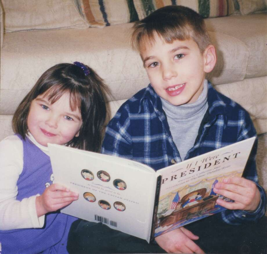 Then: In 1999, Andrew Stier, 7, and his sister Julia, 3, pose with their mother Catherine Stier s first published picture book,  If I Were President.  The book s dedication reads:  To every child who aspires to the highest office in the land, and to the possible future presidents in my home, Andrew and Julia.  The photo is such a family favorite, they commissioned San Antonio artist Margi Fisher to re-create it in watercolors. Photo: Catherine Stier
