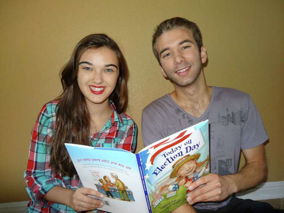 """In 1999, Andrew Stier, then 7, and his sister Julia, then 3, pose with their mother Catherine Stier's first published picture book, """"If I Were President."""" Stier's fifth children's book, """"Today on Election Day"""" was recently published, so Andrew and Julia re-created the original photo. Andrew, 20, is studying biomedical engineering at the University of Texas at Austin and is planning to vote in his first presidential election. Julia, 16, is a junior at Reagan High School and is involved in the school theater program. Photo: Catherine Stier, Reader Submissi"""
