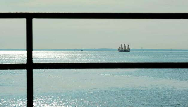 The 80-foot gaff-rigged schooner `SoundWaters,âÄô run by the Stamford-based organization of the same name, sails off the coast of Fairfield, Conn. with students from Flood Middle School in Stratford, Conn. on board Tuesday, Oct. 23, 2012.. Photo: Cathy Zuraw / Connecticut Post