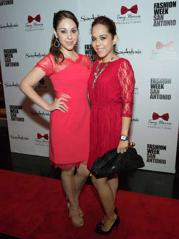 From the left, Melisa Almanza and Maxine Garcia, Fashion Week sponsors with ILoveYourDress.com at The Red Party, Fashion Week Kickoff at Texas A&M University San Antonio Educational & Cultural Arts Center, Monday, October 22, 2012 Photo: J. MICHAEL SHORT, FOR THE EXPRESS-NEWS / THE SAN ANTONIO EXPRESS-NEWS