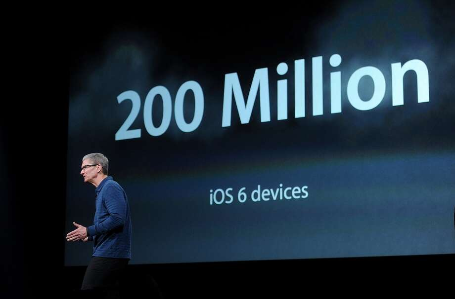 Tim Cook, chief executive officer of Apple Inc., speaks during an event in San Jose on Tuesday. (Noah Berger / Bloomberg)