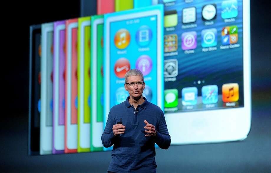 Apple CEO Tim Cook speaks during an event to announce new products in San Jose. (Marcio Jose Sanchez / AP)