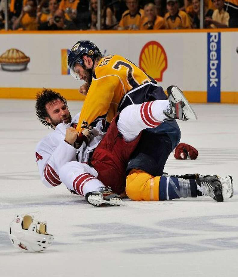 """FightsThe NHL is the only """"top four"""" sport where fighting is legal. Sometimes players fight to get their team going, sometimes they fight to stick up for a teammate or sometimes they fight just because. (Getty)"""
