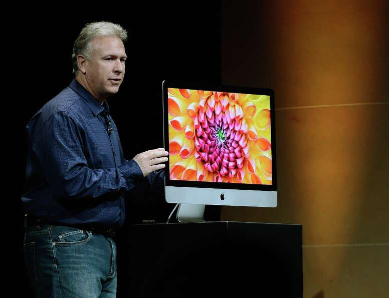 Apple Senior Vice President of Worldwide product marketing Phil Schiller announces the new iMac duri