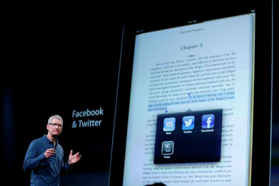 Apple CEO Tim Cook speaks during an event to announce new products in San Jose. (Marcio Jose Sanchez / AP) Photo: Marcio Jose Sanchez, Associated Press / AP