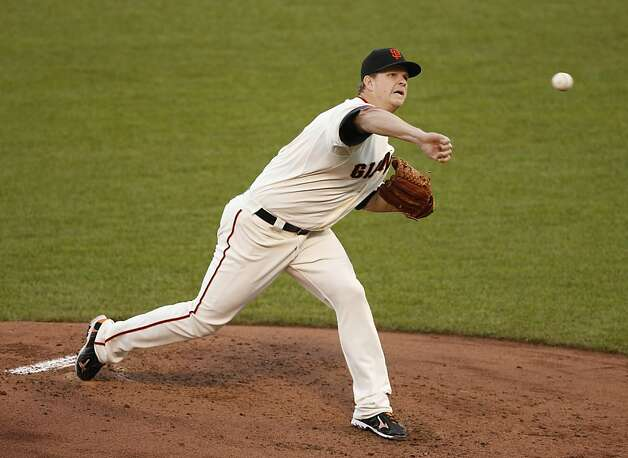 Giants' pitcher Matt Cain throws in the 2nd inning during game 7 of the NLCS at AT&T Park on Monday, Oct. 22, 2012 in San Francisco, Calif. Photo: Beck Diefenbach, The Chronicle