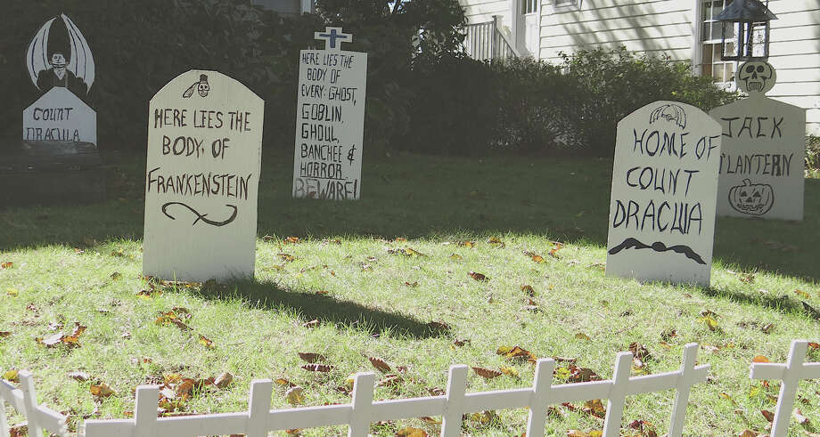 Grave doings in this headstone-filled yard on Lalley Boulevard. Photo: Contributed Photo / Fairfield Citizen contributed