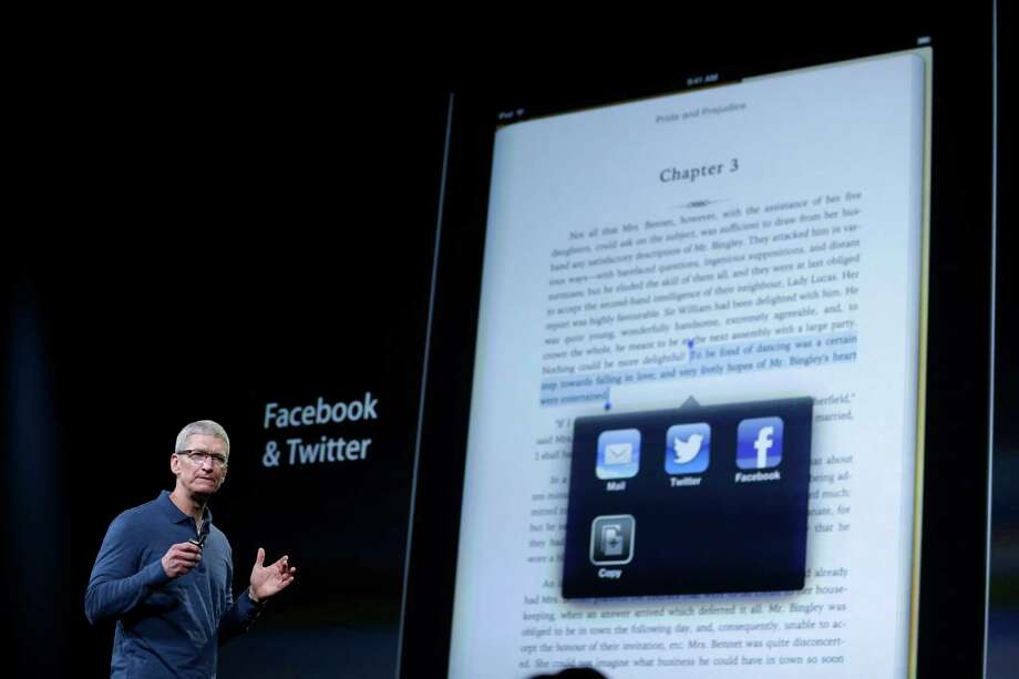 Apple CEO Tim Cook speaks during an event to announce new products in San Jose, Calif., Tuesday, Oct.  23, 2012. (AP Photo/Marcio Jose Sanchez) Photo: Marcio Jose Sanchez, STF / AP