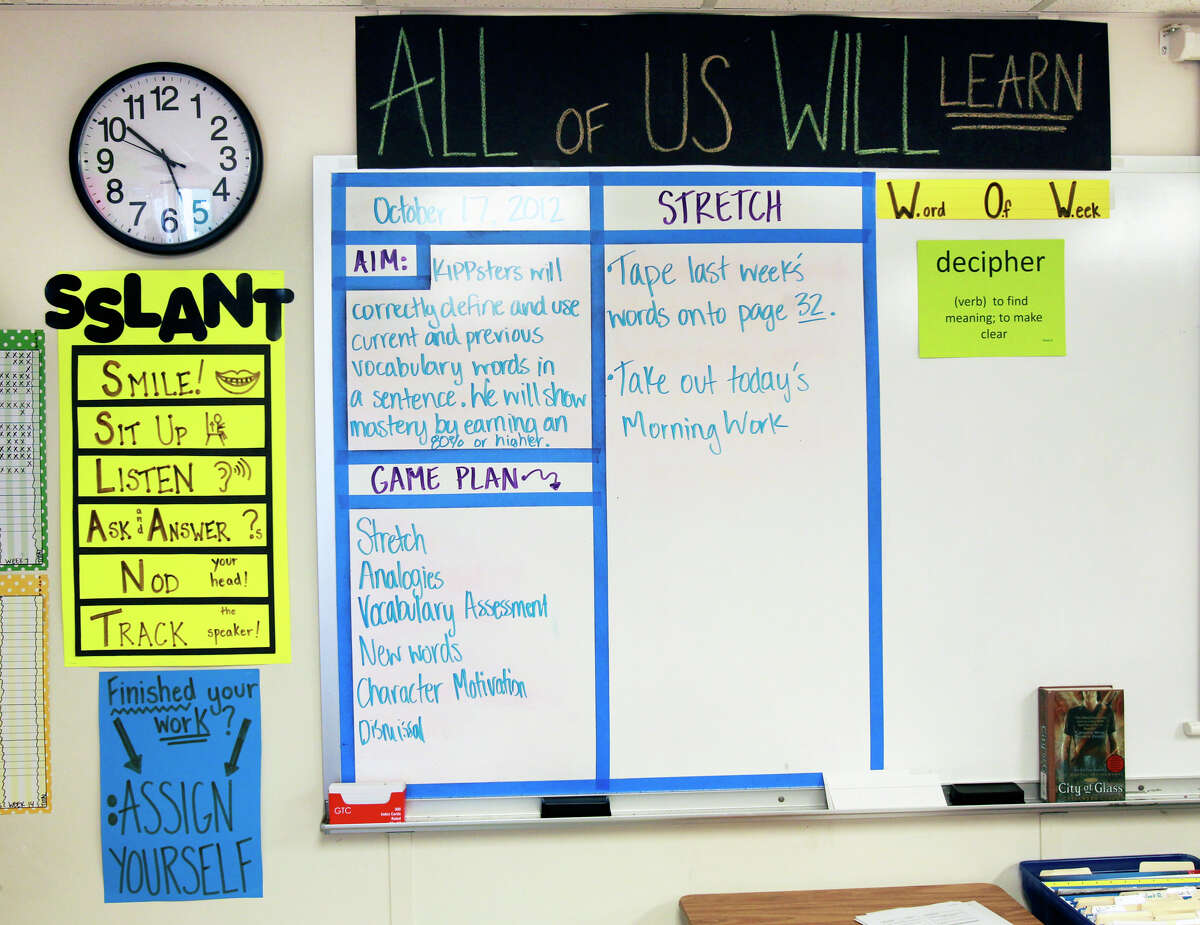 Class guidelines are posted on the wall in the reading class of Dana Barnes as KIPP Camino Academy conducts classes on October 17, 2012.