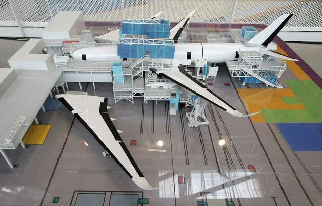 A model of an Airbus A350 XWB is shown at the final assembly line in Toulouse, France, Tuesday Oct. 23, 2012. Photo: AP