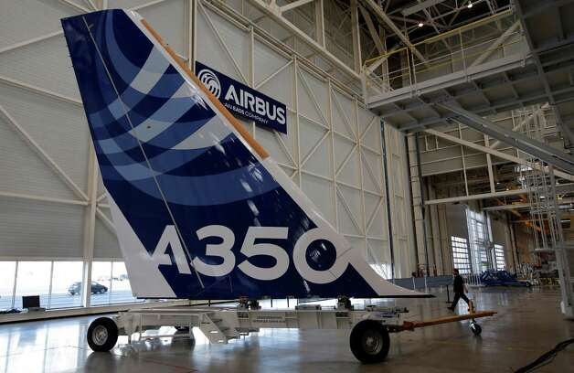 The vertical tail of the first Airbus A350 XWB is shown  on the final assembly line in Toulouse, France, Tuesday Oct. 23, 2012. Photo: AP