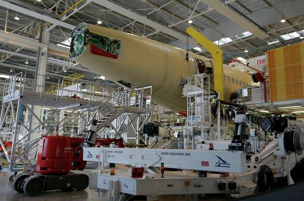 The tail section of the first Airbus A350 XWB is shown  on the final assembly line in Toulouse, France, Tuesday Oct. 23, 2012. Photo: AP