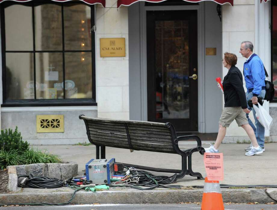 Power cables near the curb on Sound Beach Avenue were being used for Showtime's hit TV series, The Big C, that was shooting at the Beach House Cafe in Old Greenwich. Tuesday afternoon, Oct. 23, 2012. Photo: Bob Luckey / Greenwich Time