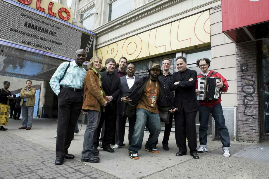 Members of Abraham Inc. pose outside of the landmark Apollo Theater in Harlem, one of the many stages from which this group has performed. Described as fusion of klezmer, funk and hip hop, the band will bring its unique mix of genres to the Quick Center at Fairfield University in Fairfield, Conn., on Thursday, Oct. 25, 2012 at 8 p.m.. Tickets are $45 to $25. For more information, visit www.quickcenter.com or call 203-254-4010. Photo: Contributed Photo