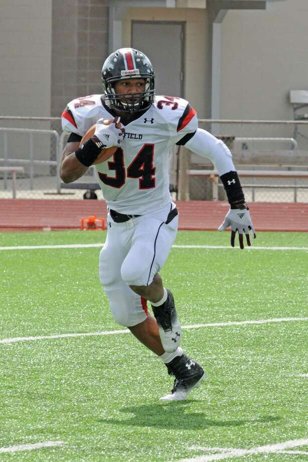 Westfield running back Emmitt Raleigh (6-0, 200) has blossomed as a senior starter with 1,200-plus rushing yards and 21 total touchdowns during a perfect 7-0 start by the Mustangs in 2012. Photo: L. Scott Hainline