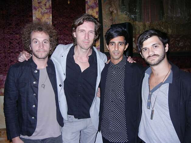 Harper Blynn band members Jason Blynn (left), Whynot Jansveld, Sarab Singh and Pete Harper at Peter Getty's Sherman House soiree. Photo: Catherine Bigelow, Special To The Chronicle