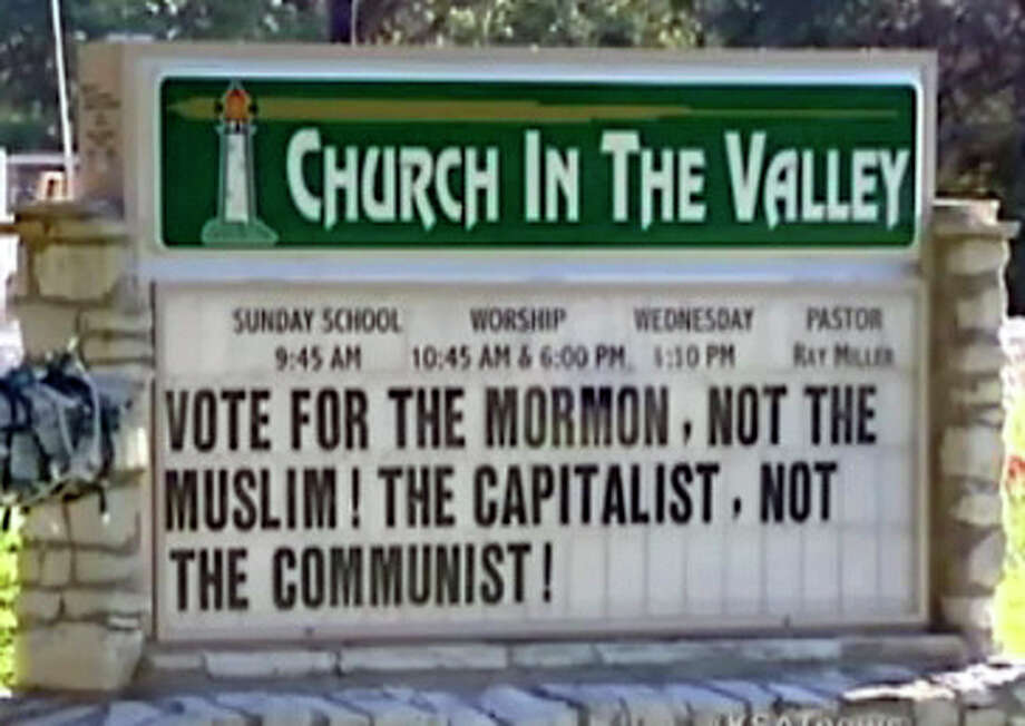 Readers find fault with the political sign put up by the Church of the Valley in Leakey. Photo: Courtesy, KSAT