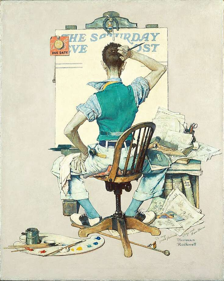 "Norman Rockwell's ""Artist Facing Blank Canvas (The Deadline),"" 1938. Rockwell illustrated 322 covers for the Saturday Evening Post, where he spent more than 40 years. Photo: Norman Rockwell"