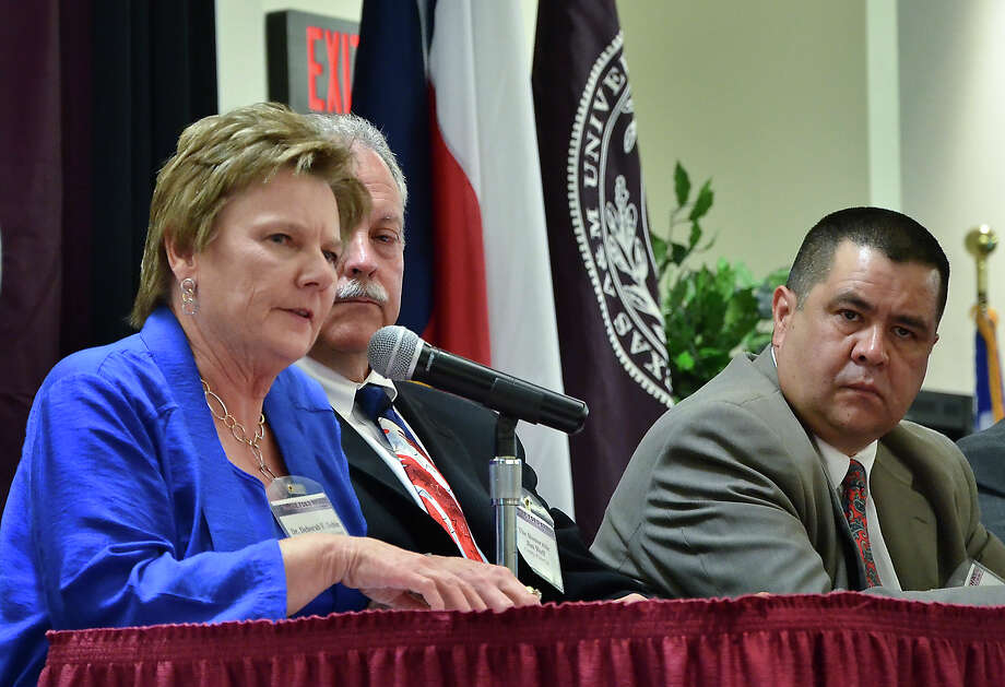 Carrizo Springs Independent School District Superintendent Deborak F. Dobie, spoke about the issues affecting her district by the Eagle Ford Shale as she participated in the Regional Leadership Perspective panel Tuesday afternoon at TAMIU. Other panel members included, Live Oak County Judge Jim Huff, center and La Salle County Judge Joel Rodriguez Jr. Photo: CUATE SANTOS / LAREDO MORNING TIMES