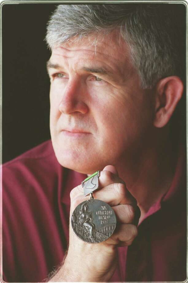 Olymic shot putter Randy Matson with the gold medal he won at the Olympics in 1968. Photo: Butch Ireland / freelance