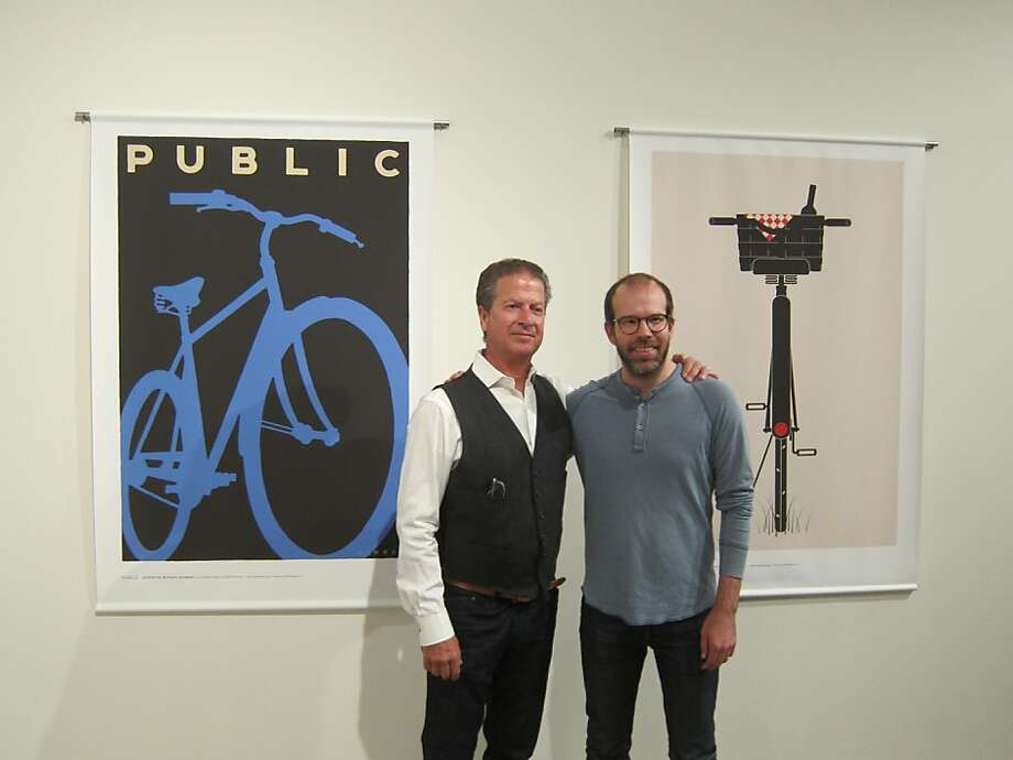 Public Bikes called on artists to interpret the concept of public. Admiring the results are Michael Schwab (left) and Jason Munn Photo: Courtesy Public