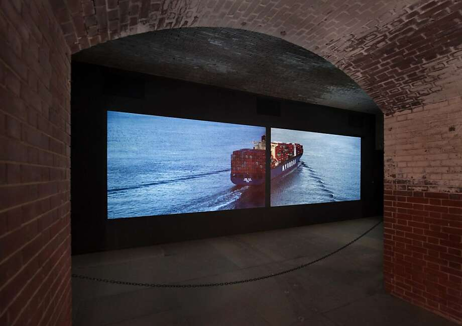 """Chrysopylae"" (2012), a two-channel projected video by Doug Hall at Fort Point, is part of the Golden Gate Bridge show. Photo: Benjamin Blackwell"
