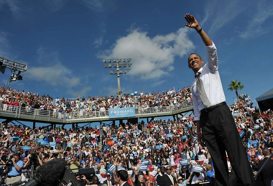 President Obama, shown in Florida this week, isn't riding a triumphant pop-culture wave as he did last time, but social media creates instant mass memes out of the campaign. Photo: Mandel Ngan, AFP/Getty Images