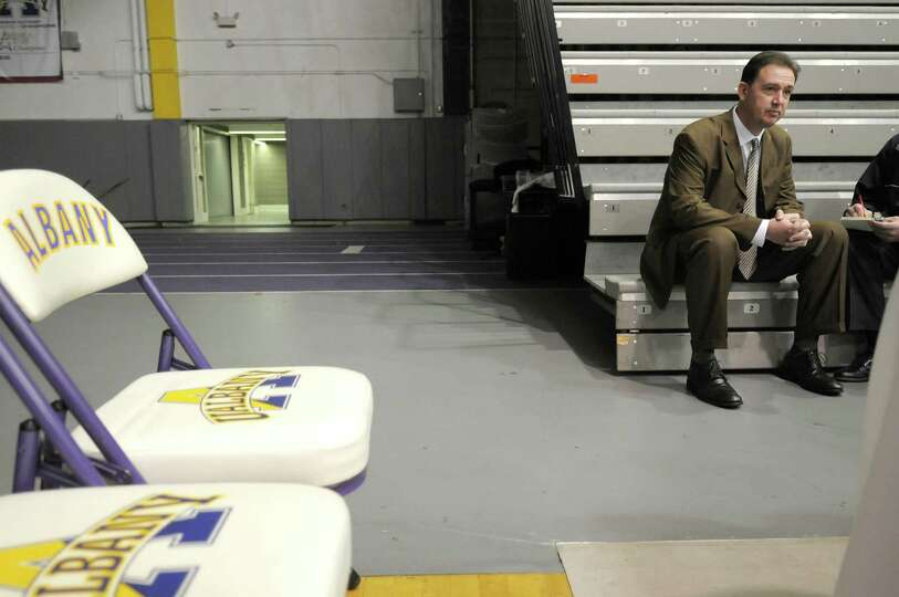 Will Brown, UAlbany men's basketball coach, talks about the upcoming season as he is interviewed at