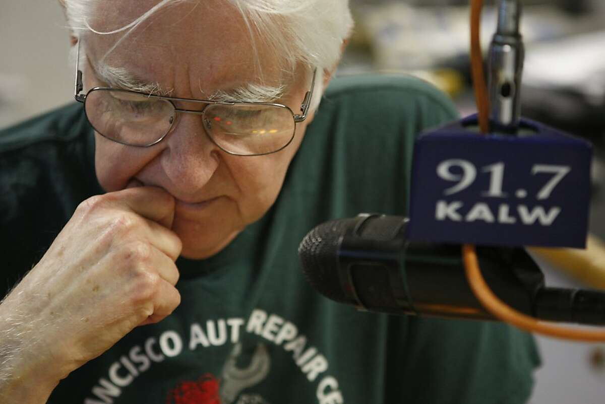 Alan Farley listens to his show as it plays in the KALW studios in San Francisco Calif, on Thursday, Feb. 17, 2011.