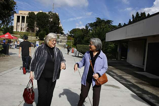 Interim Chancellor Pamila Fisher (left) going to lunch with ESL teacher Elma P. Cabahug (right) at City College of San Francisco in on Tuesday, October 23, 2012. Photo: Liz Hafalia, The Chronicle