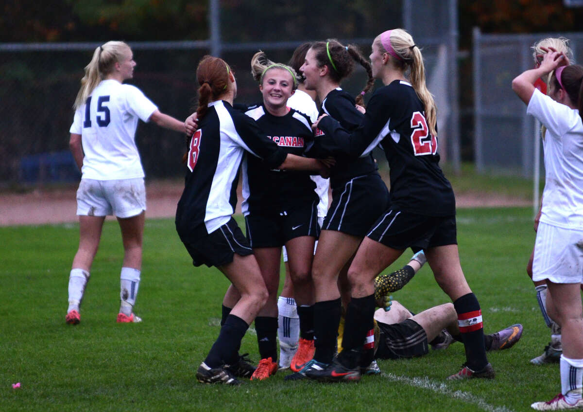 New Canaan celebrates a goal against Staples during the girls soccer game at Loeffler Field at Staples High School in Westport on Tuesday, Oct. 23, 2012.