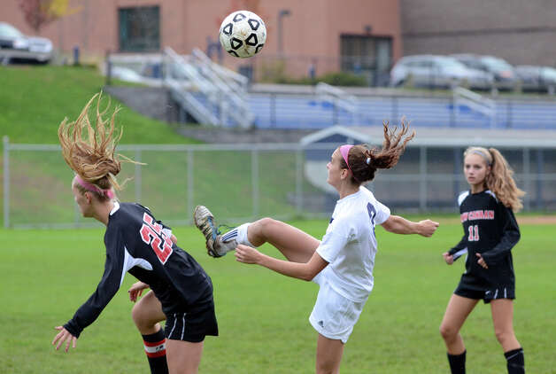 Staples' Olivia Gerrard (2) controls the ball during the girls soccer game against New Canaan at Loeffler Field at Staples High School in Westport on Tuesday, Oct. 23, 2012. Photo: Amy Mortensen / Connecticut Post Freelance