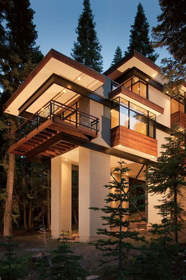Architect Joel Sherman's 2,640-square-foot Steel Tree House at Martis Camp in Truckee. Photo: Vance Fox Photography
