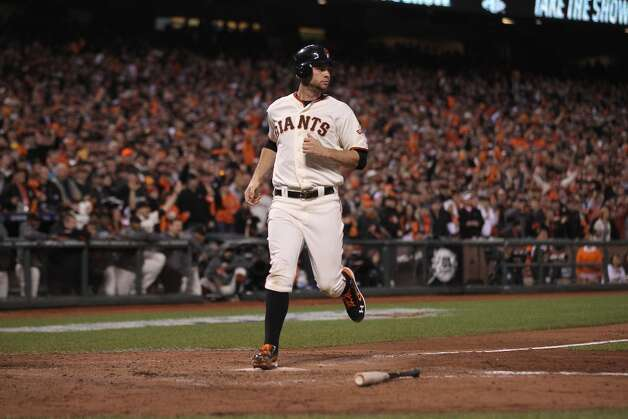 Giants' first baseman Brandon Belt scored in the 3rd inning during game 7 of the NLCS at AT&T Park on Monday, Oct. 22, 2012 in San Francisco, Calif. Photo: Lance Iversen, The Chronicle / ONLINE_YES
