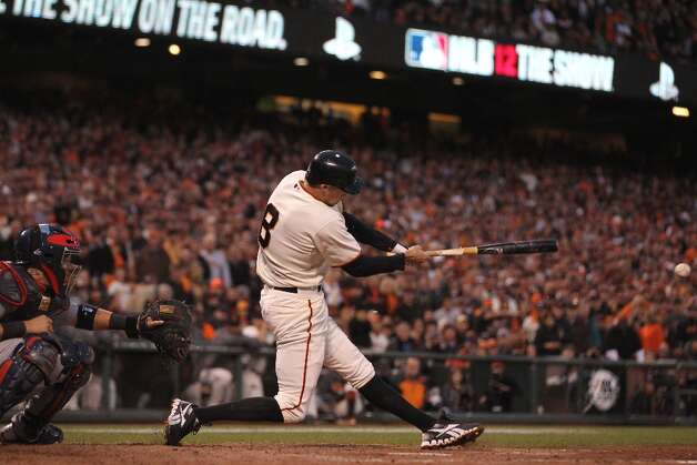 Giants' right fielder Hunter Pence doubles in the 3rd inning to score 3 during game 7 of the NLCS at AT&T Park on Monday, Oct. 22, 2012 in San Francisco, Calif. Photo: Lance Iversen, The Chronicle / ONLINE_YES