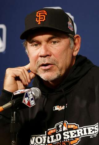 Giants manager Bruce Bochy talked about his resilient team. World Series opponents San Francisco Giants and Detroit Tigers held brief workouts at AT&T park in San Francisco, Calif. Tuesday October 23, 2012. Photo: Brant Ward, The Chronicle