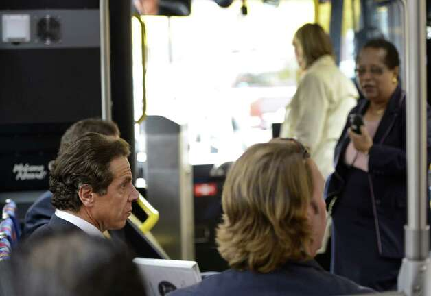 Governor Andrew Cuomo, left listens to RPI president Shirley Ann Jackson, right during a bus tour of Economic Development Sites in the capital district. Oct 23, 2012.   (Skip Dickstein/Times Union) Photo: SKIP DICKSTEIN / 10019787A
