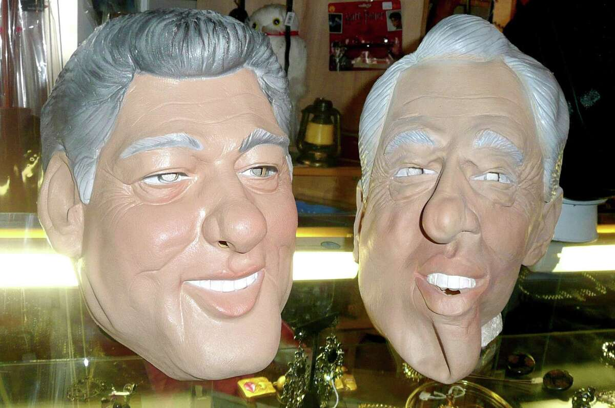 As far as political masks go, Scarpelli says, former president Bill Clinton has been the alltime favorite here in Greenwich.