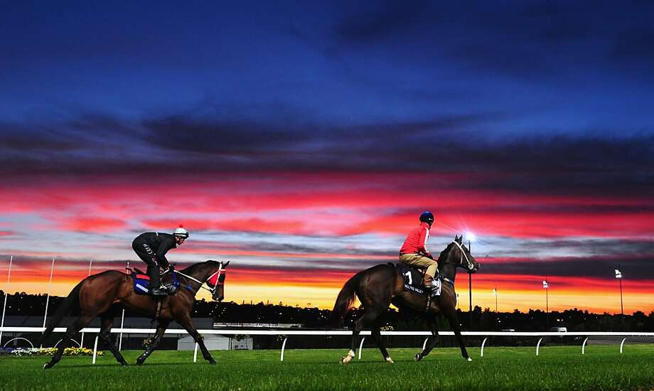 Jockey Glenn Boss riding Ocean Park (L) and Mark Zahra riding Yosei during trackwork at Breakfast With The Best at Moonee Valley Racecourse on October 23, 2012 in Melbourne, Australia.  (Photo by Vince Caligiuri/Getty Images) Photo: Vince Caligiuri, Getty Images