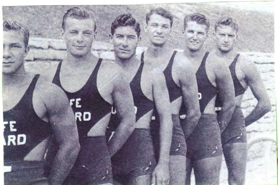 Dr. Buck Rikli as a  life guard with other life guards at Naperville, Illinois swimming pool in  1940. Photo: Barbara Clark, Reader Submission