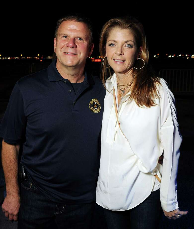 Chairs Paige and Tilman Fertitta at the HPD True Blue Gala benefitting the Houston Police Foundation at the Landry's Flight Hanger at Hobby Airport Saturday Oct. 20,2012.(Dave Rossman photo) Photo: Dave Rossman, Freelance / © 2012 Dave Rossman