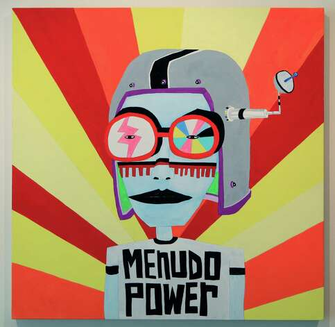 "San Antonio artist Cruz Ortiz is having a solo exhibition at the UT Visual Art Center in Austin.  This piece is titled ""menudo power"".  Thursday, Sept. 20, 2012. Photo: BOB OWEN, San Antonio Express-News / © 2012 San Antonio Express-News"