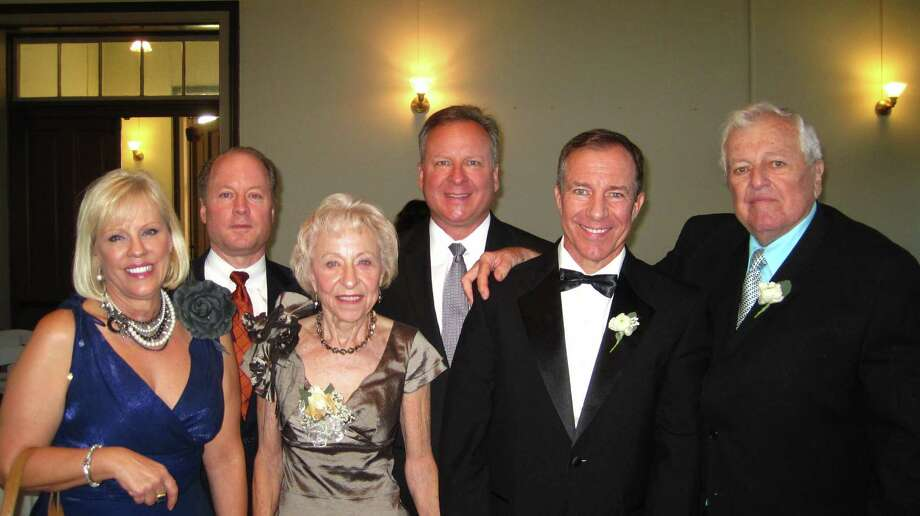 """Now:The second photo was taken at a wedding in September. Each of our four children has a thriving marriage. We are, left to right: Lisa, married to David Harder, is a successful realtor; Paul Weissgarber (wife: Dana), is senior vice president of Crosstex Energy's Ohio River Valley; mom Ruth Weissgarber is a retired realtor; Glen Weissgarber, married to Kim, is a senior clinical specialist with Genentech; financial advisor Eric Weissgarber is married to Angela and Tony Weissgarber is at right.  He is a retired Air Force """"recce puke,"""" (Fighter pilot with panache,) and retired local aerial photographer. Photo: Tony Weissgarber, Reader Submiss"""