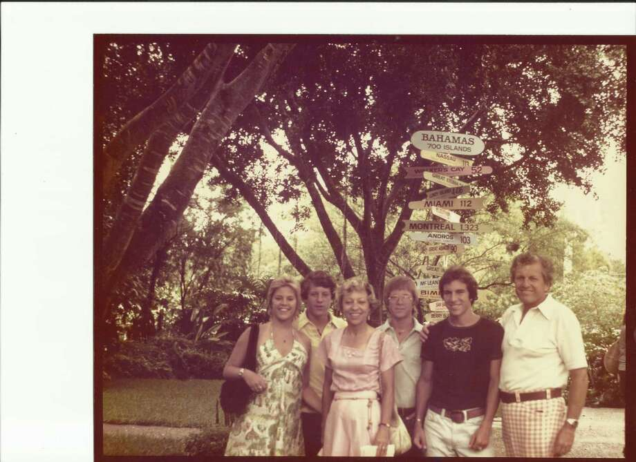 """Then: The Bahamas photo was taken in 1976, 36 years ago.  It was our final family vacation before the kids """"split."""" From left to right:  Lisa, Paul, mom Ruth,  Glen, Eric and dad Tony Weissgarber. Photo: Tony Weissgarber, Reader Submiss"""