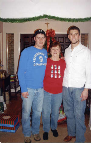 What started as fun taking an Xmas picture with Gramma Gail Sims and cousin grandsons Patrick Sims and Michael Carlisle soon became a yearly tradition. In this photo from 2011, both boys are 21 now and in college, but  they still continue the tradition of Xmas pictures at their grandmothers home in Bulverde. Patrick is now 6  and Michael is 6 3 , so it s doubtful anymore growth will be noticed! Photo: Gail Sims, Reader Submission