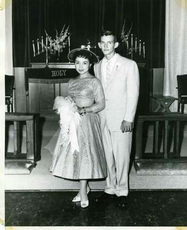 On Sept 1st, 1957 Bill Umphlett and Barbara Oliva were married in Chapel #3 at 4 p.m. at Lackland AFB. He was a basic training instructor and Barbara was working at Southwestern Bell Telephone Co. They went to North Carolina for their honeymoon and to meet Bill's family members. Photo: Bill Umphlett, Reader Submission