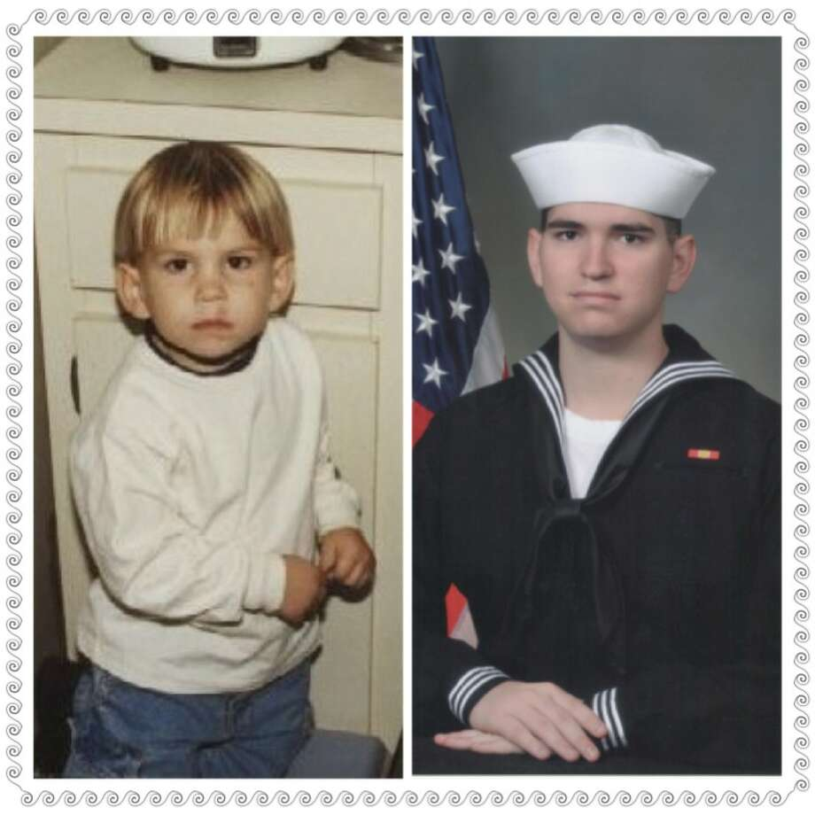 """Recently, I, along with his proud mom, Kimberly Snipes, attended the graduation of my first grandson Bonn Jeremy Snipes from Navy Boot Camp. What a proud moment to see our boy develop into a fine man and ready to serve his country. The """"Then"""" picture was taken when he was 3 in Miramar, Fla., Even in his younger days he looks ready for action. The """"Now"""" picture is from the Great Lakes Naval Station in Great Lakes, Ill. Bonn's next stop on his Naval Career will be San Diego, CA.  --Teri Scooler Photo: Teri Scooler, Reader Submission"""